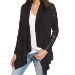 BLANKNYC Black Draped Faux Suede / Leather Jacket